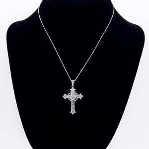 Sterling Silver Medieval Crucifix Cross  Pendant Necklace