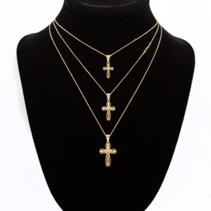 Gold 3D Rounded Christ Crucifix Cross Pendant Necklace (YELLOW/ROSE/WHITE)