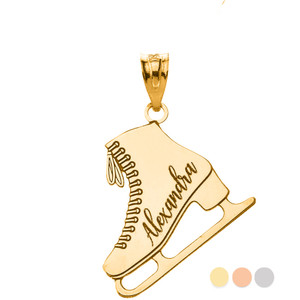 Personalized Engravable Gold Ice Skate Winter Sports Charm Figure Skating Necklace With Your Name(Yellow/Rose/White)