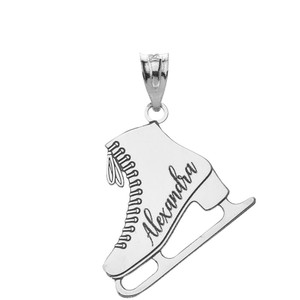 Personalized Engravable Silver Ice Skate Winter Sports Figure Skating Charm Necklace With Your Name