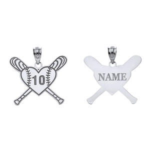 Personalized Engravable Silver Heart with Crossed Baseball Bats Charm Necklace With Your Number And Name
