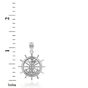 Sterling Silver Ship Wheel 3D Charm Necklace