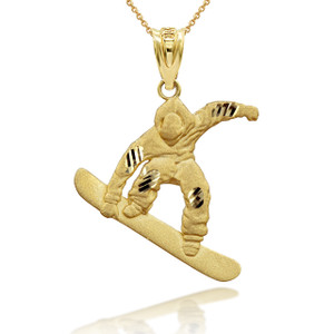 Gold Snowboarding 3D Charm Necklace (Available in Yellow/Rose/White Gold)