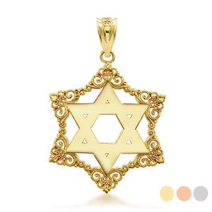 Gold Decorated Star Of David Charm Necklace (Available in Yellow/Rose/White Gold)