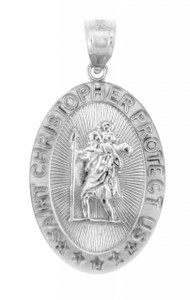 Religious Pendants - The Saint Christopher Protect Us Oval Sterling Silver Pendant Necklace