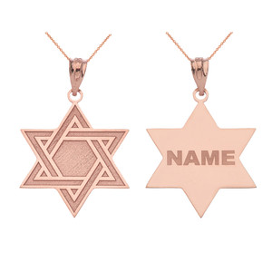 Personalized Gold Jewish Jewelry Engraved Interlocking Star of David Pendant Necklace With Your Name (Yellow/ Rose/White)