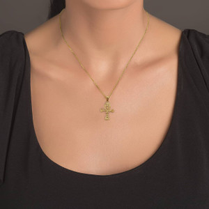 Gold Egyptian Ankh 3D Charm Necklace (Available in Yellow/Rose/White Gold)