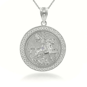 Sterling Silver Saint George Dragon Hunter 3D Charm Necklace