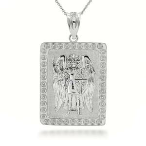 Sterling Silver Saint Michael ArchAngel 3D Charm Necklace