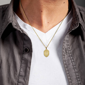 Gold Saint Michael's Sword Shield Charm Necklace (Available in Yellow/Rose/White Gold)