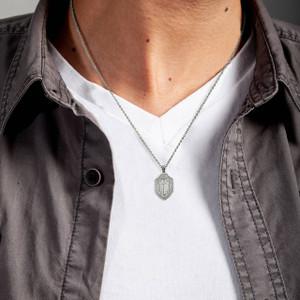 Sterling Silver Saint Michael's Sword Shield 3D Charm Necklace