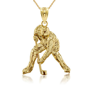 Gold Hockey Player 3D Charm Necklace (Available in Yellow/Rose/White Gold)