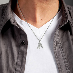 Sterling Silver Hockey Player 3D Charm Necklace