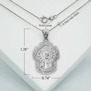 Silver Nikolay Chudotvorets Russian Orthodox Cross Charm Necklace