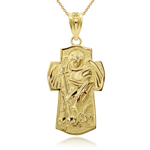 Gold Saint Michael Archangel Cross Charm Necklace (Available in Yellow/Rose/White Gold)