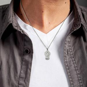 Silver Saint Michael Archangel Cross Charm Necklace
