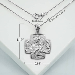 Silver Jesus And Mary Two Sided Russian Orthodox Cross Charm Necklace