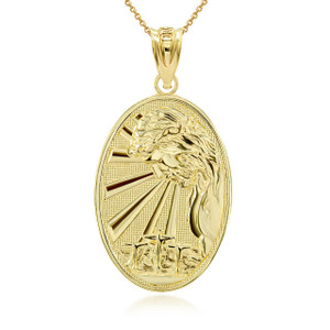 Gold Jesus Calvary Hill Crucifiction 3D Charm Necklace (Available in Yellow/Rose/White Gold)