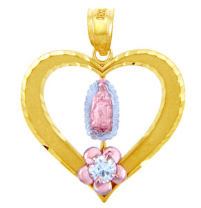 Gold Pendants - Lady of Guadalupe Heart Cubic Zirconia Gold Pendant