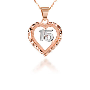 Two-Tone Sparkle Cut in Rose Gold 15 Anos Heart Pendant Necklace