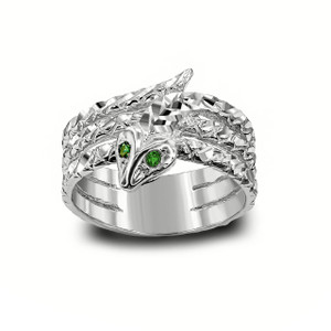 Green-Eyed Snake Ring in Sterling Silver