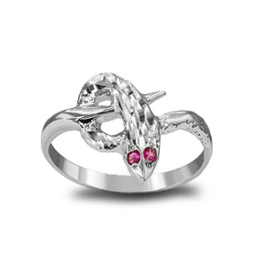 Red-Eyed Snake Ring in  Sterling Silver