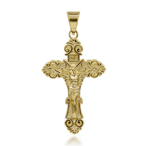 Small-Medium-Large-Solid-Yellow-Gold-INRI-floral-Crucifix-Cross-Pendant