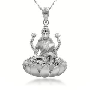 Sterling-silver-lakshmi-hindu-sitting-on-lotus-throne-pendant-necklace