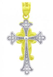Two Tone Gold Majestic Cross Pendant