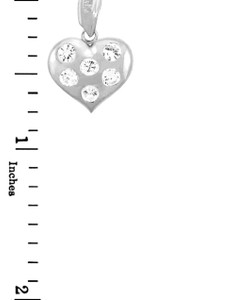 Silver Heart Pendant with Six Cubic Zirconias