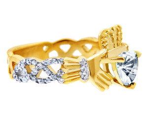 Gold Diamond Claddagh Ring with 0.40 Carats of Diamonds and a April Birthstone.  Available in 14k and 10k Gold.