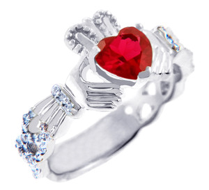 White Gold Diamond Claddagh Ring 0.40 Carats with Garnet Stone