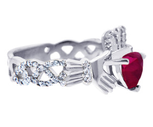 18K White Gold Diamond Claddagh Ring with 0.4 Ct Diamond Band and 1.1 Ct  Ruby