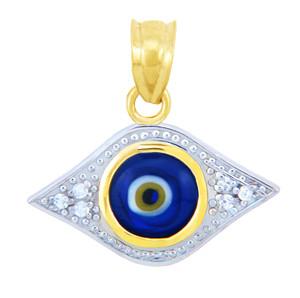 Gold Diamond Evil Eye Blue Pendant