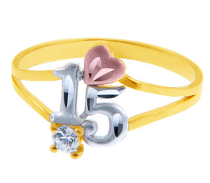 15 Años Ring - Quinceanera Ring Heart in Cubic Zirconia