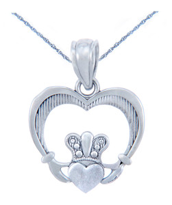 Silver Heart Shaped Claddagh Pendant (w Chain)