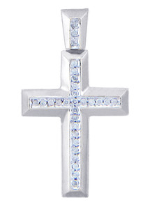 White Gold Cross Diamonds Pendant