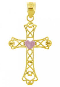 Two Tone Gold Mighty Heart Cross Pendant