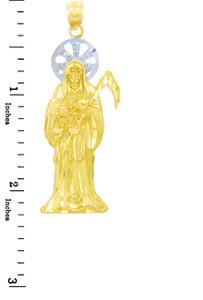 Religious Charms - The Santa Muerte Two Tone Gold Pendant (Large)