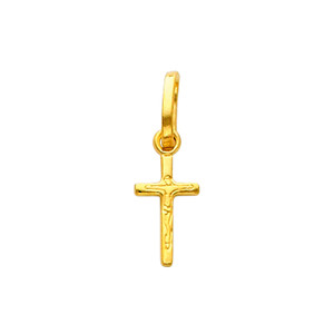 14K Gold Pious Crucifix pendant