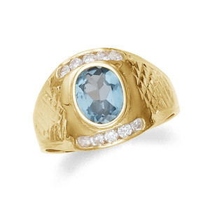 Gold men's synthetic blue topaz ring with cz.