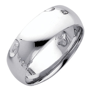 White Gold Classic Comfort Fit Wedding Band 7MM