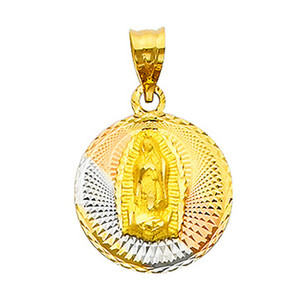 """Tri-Color """"Our Lady of Guadalupe"""" Pendant- 0.50 Inch"""