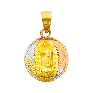 """Tri-Color """"Our Lady of Guadalupe"""" Pendant- 0.30 Inch"""