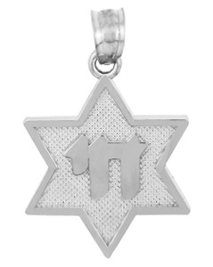 Star of David with Chai White Gold Pendant