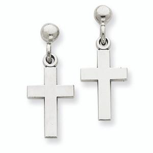 White Gold Polished Cross Earrings