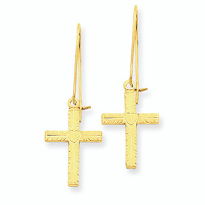 Polished & Satin Cross Earrings 14K