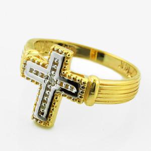 Gold Rhodium Diamond Cross Ring