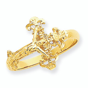 Diamond Cut Crucifix Ring
