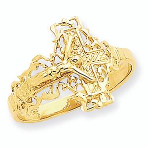 Diamond Cut Crucifix Ring 14K